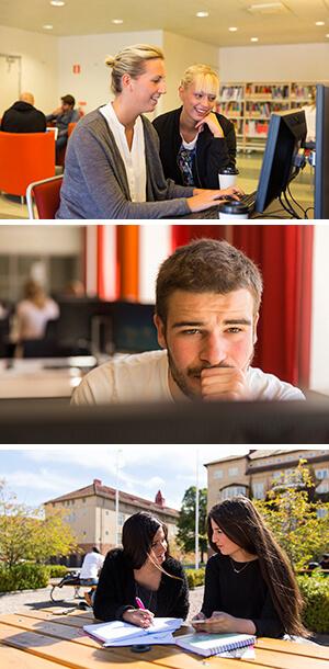 3 fotografier på skrivande studenten