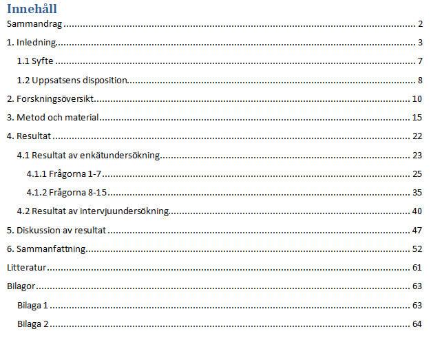 Bild på ett exempel på en innehållsförteckning